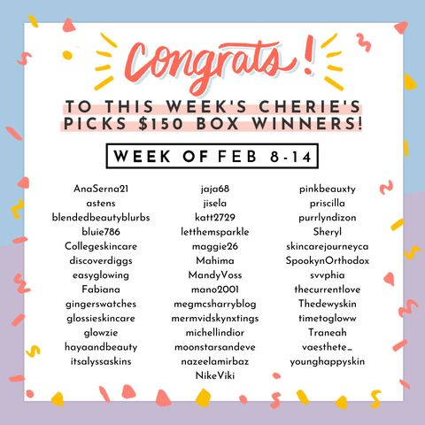 Lucky Cherie's Picks winners (w/o Feb 8-14) 🍀🤩