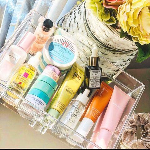 My drawer of my fav products for my face routine