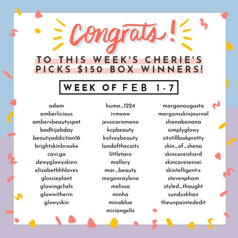 This week's lucky Cherie's Picks winners 🥳🤩