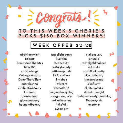 Lucky Cherie's Picks winners (w/o Feb 22-28) 🍒